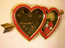 Hearts clock. Second name for this picture can be Valentine's clocks Stock Photo