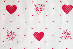 Hearts Cloth. A cloth paintings with baby drawing, hearts and flowers Royalty Free Stock Photo