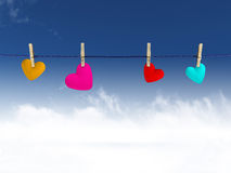 Hearts on a clothesline Stock Photography
