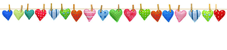Hearts on clothesline border Stock Image
