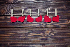 Hearts on clothespins Royalty Free Stock Photo