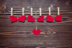 Hearts on clothespins Royalty Free Stock Photography