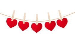 Hearts and clothespins Royalty Free Stock Photography