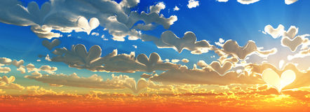 Hearts cloud 3d background Royalty Free Stock Photos