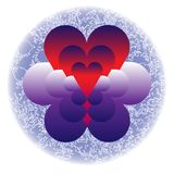 Hearts in clouds royalty free illustration