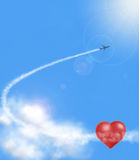 Hearts in clouds and airplan Royalty Free Stock Image