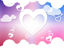 Hearts And Clouds Background Means Romantic Dreams And Feelings Royalty Free Stock Photo