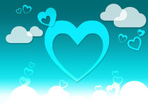 Hearts And Clouds Background Means Romantic Feeling Or Passionat Stock Photo