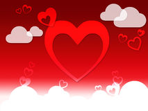 Hearts And Clouds Background Shows Love Sensation Or In Love Royalty Free Stock Images