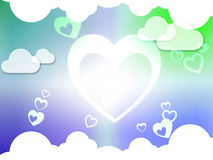 Hearts And Clouds Background Shows Passion  Love And Romance. Hearts And Clouds Background Showing Passion  Love And Romance Royalty Free Stock Photography