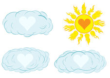 Hearts in the clouds. Clipart with a set of clouds and the sun with heart inside Royalty Free Stock Photography