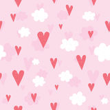 Hearts and clouds seamless vector pattern Royalty Free Stock Photo