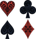 Hearts, clubs, spades and dimonds icons. Floral illustration of a card suits Stock Photography