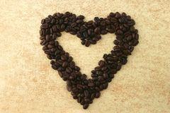 Hearts of coffee beans Royalty Free Stock Photos