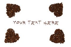 Hearts from coffee beans isolated. On a white background Royalty Free Stock Images