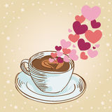 Hearts coffee cup greeting card Royalty Free Stock Photos