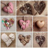 Hearts collage. Wooden, paper and fabric Heart collage Stock Photo