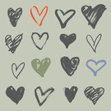 Hearts collection. Hand drawn brush stroke hearts set, vol. 1 Stock Photography