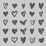 Hearts collection. Hand drawn brush stroke hearts set, vol. 3 Stock Image