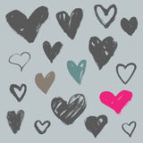 Hearts collection. Hand drawn brush stroke hearts set, vol. 2 Stock Photos