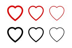 Free Hearts Collection Icons. Heart And Like Icons. Concept Of Love. Love Symbols. Set Of Hearts In Trendy Simple Flat And Line Design Stock Photography - 160441202