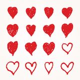 16 hearts. Collection of sixteen hand drawn hearts, editable grunge love icons royalty free illustration