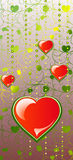 Hearts on Color patten background Stock Images
