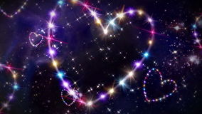 Hearts color star space. Starry night in space background with heart forming from stars stock video