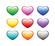 Hearts colored many colors. Valentine's Day Royalty Free Stock Image