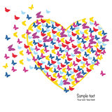 Hearts with colorful butterflies background Stock Images