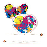 Hearts with colorful splashes Stock Image