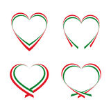 Hearts with the colors of the Italian flag Royalty Free Stock Photos