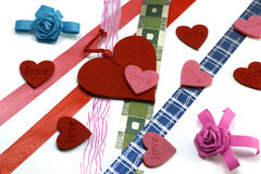 Hearts and colours ribbons Stock Image