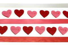 Hearts and colours ribbons Stock Images