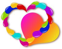 Hearts of colours. Two hearts designed from different colours Royalty Free Stock Image