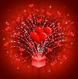 Hearts coming out of gift box Stock Photo