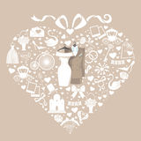Hearts composition.Design with Wedding clothers Stock Image