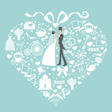 Hearts composition.Design with Wedding clothers Royalty Free Stock Images