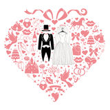 Hearts composition. Design with Wedding dress Royalty Free Stock Photo
