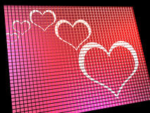 Hearts On Computer Display Stock Image