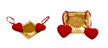Hearts and condoms Royalty Free Stock Photos