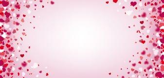 Hearts Confetti Bright Centre Header. Hearts confetti and on the pink background Stock Photos