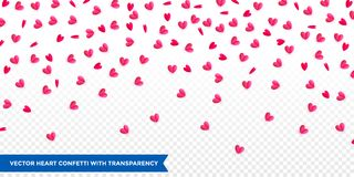 Hearts confetti pattern background for Valentines Day or wedding and birthday greeting card design template. Vector pink red heart. Petal confetti falling down Stock Photography
