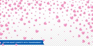 Hearts confetti pattern on transparent background for Valentines Day or wedding and birthday greeting card design template. Vector. Pink red heart petal Royalty Free Stock Photography