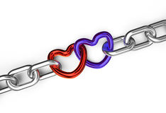 Hearts connected chain Stock Images