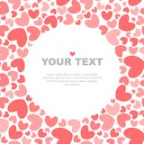 Coral hearts card template stock illustration