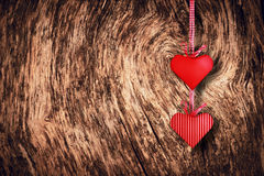 Hearts couple on a wood Stock Image