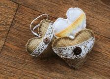 Hearts. Crafts. Burlap . Burlap  for hanging stock photography