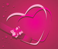 Hearts on the crimson background. Hearts and ribbon with flower on the crimson background. Illustration Royalty Free Stock Photo