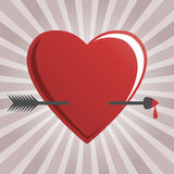 Hearts and cupid arrow Royalty Free Stock Photos